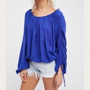 NEW Free People Cinch Ruched Long Sleeve Blouse XS